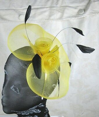YELLOW feather headband fascinator millinery wedding ascot hat hair piece