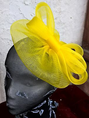 bright yellow fascinator millinery burlesque wedding hat ascot race bridal