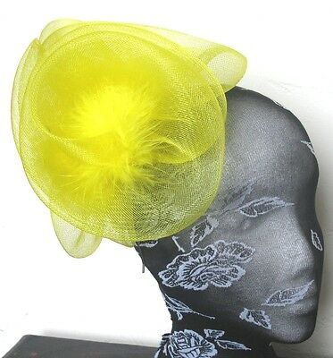 yellow feather fascinator millinery burlesque headband wedding hat hair piece x
