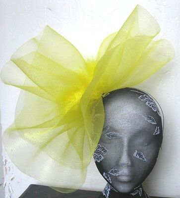 yellow feather fascinator millinery burlesque headband wedding hat hair piece