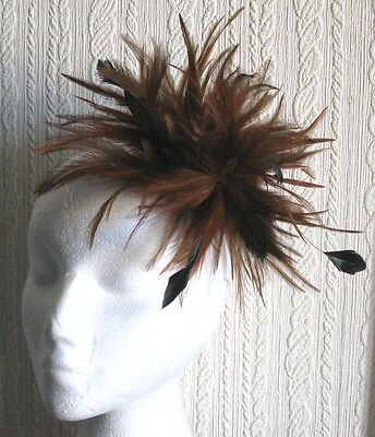 brown fascinator millinery feather brooch clip hat