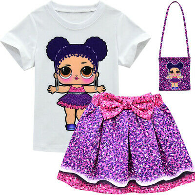 LOL Big Surprise Girl Doll Dress+T-shirt+Bag 3pcs Outfits Set Party Costume Gift