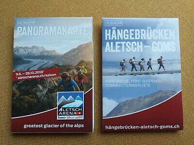 2 Maps Of The Aletsch Arena Switzerland NEW