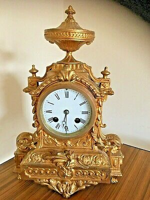 Vintage Small late 19 th century French Mantel Clock in Gilt / Spelter . Bell St