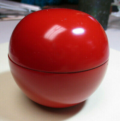 Vintage Wooden Red Lacquerware Japanese Rising Sun or Ball Tea Caddy