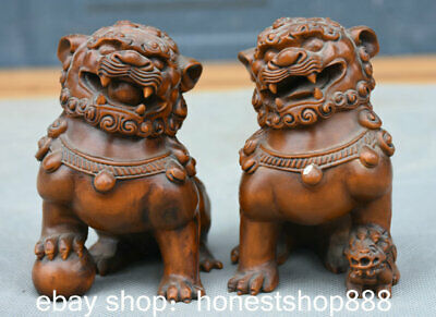 """3.6"""" Old China Boxwood Hand Engraving Feng Shui Foo Dog Lion Luck Statue Pair"""