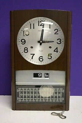 Vintage Seiko 30 Day Key Wind Chiming Wall Clock Working