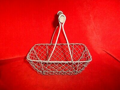 Antique Original Civil War Era Small Wrought Iron Basket With Wooden  Handle
