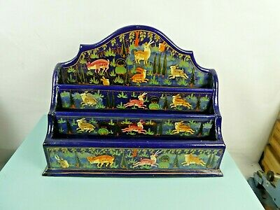 Vintage kashmir indian papier mache black lacquer letter rack hand painted, Supe