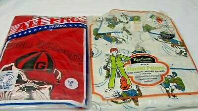 ALL FOR ONE $ ~ 1970s OLD STOCK LOT 2 VINTAGE BOY'S NOVELTY PAJAMAS size 4