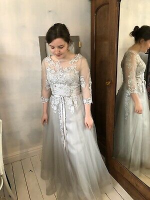 Stunning Silver Grey Couture Wedding / Special Occassion Dress Size10