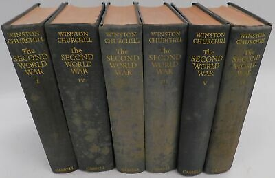 Vintage The Second World War Books (Vol. 1-6) by Winston Churchill 1950's - W71