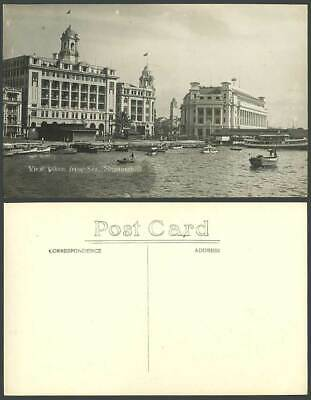 Singapore Old Real Photo Postcard View Taken from Sea General Post Office Harbor