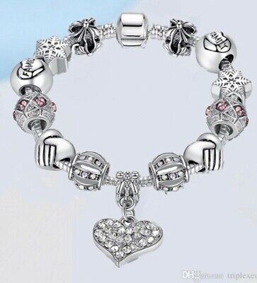 Authentic Pandora Charm Bracelet Silver with Crystal Heart European Beads