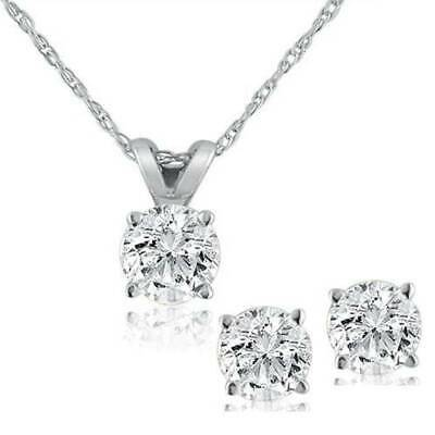 .85 Carat tdw Diamond Solitaire Necklace & Studs Earrings Set 14K White Gold