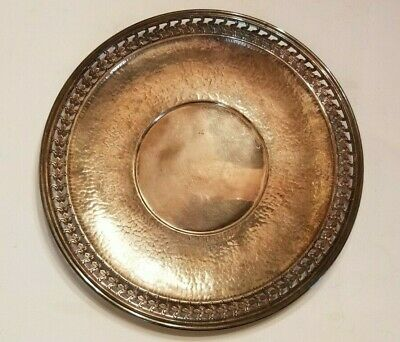 Vintage Poole Silver Company Hand Hammered Silver Plate Tray #8643