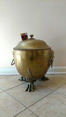 WILLIAM SOUTTER English BRASS Coal Scuttle Hod Covered pot Grotesque Claw Feet