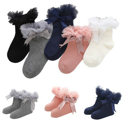Baby Girls Kids Frilly Trim Sock Princess Infant Ruffle Socks Lace Ankle Bowknot