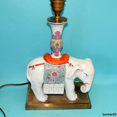Antque Chinese Porcelain Famile Rose Figural Elephant Lamp Foot Base Early 20Thc