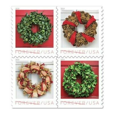 Holiday Wreaths USPS Forever Stamp, Book of 20 Stamps - NEW