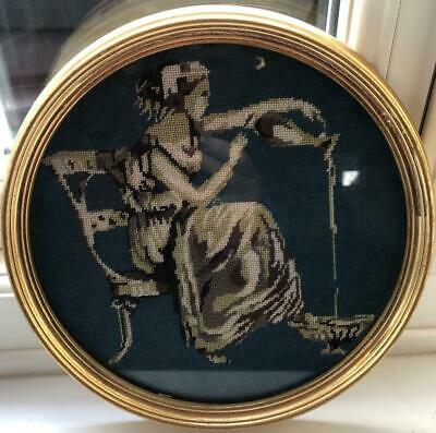 Antique Petit Point Embroidery of Classical Lady Pouring Water Framed.