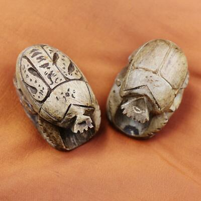 UNIQUE Set of TWO Antique Egyptian Amulet of Ancient Beetle Scarab Collection