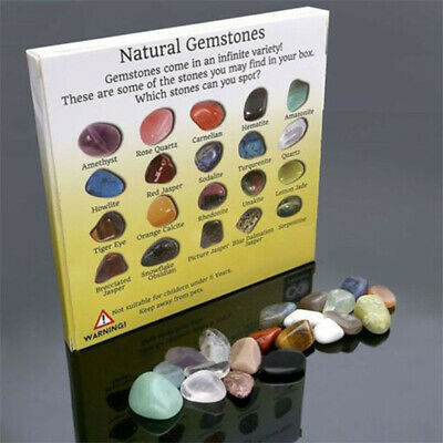 20Pcs Healing Reiki Polished Chakra Stone Display Crystal Gemstone Collection US