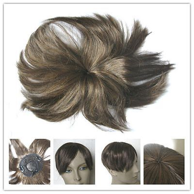 chestnut brown clip in on fringe bang bald grey hairpiece extension toupee