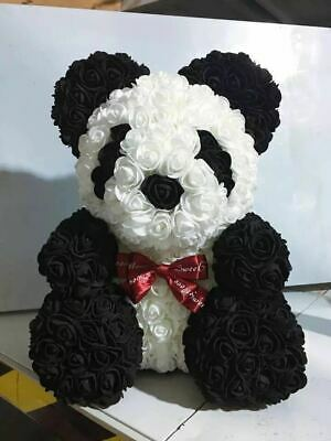 40CM Lovely Teddy Bear Handmade Rose Flower Bear Toys Valentine's Day Gift