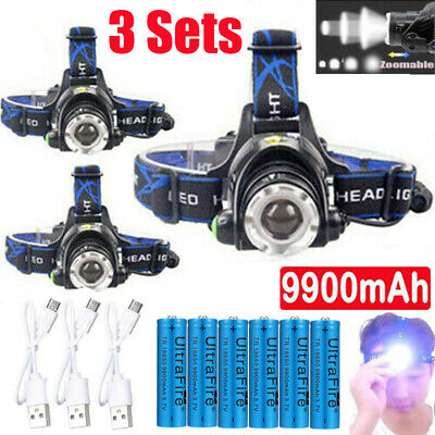 350000Lumen Zoomable T6 LED Headlamp USB Rechargeable Headlight 18650 Flashlight