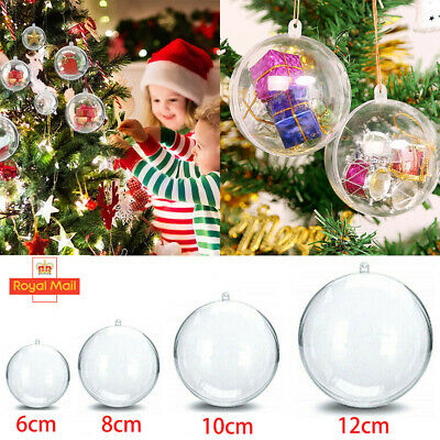 120X Clear Plastic Christmas Balls Baubles Sphere Fillable Xmas Tree Ornament