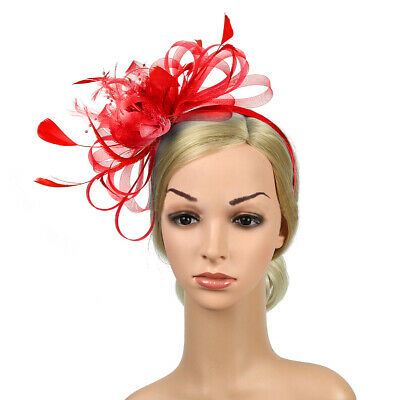 Feather Looped Headband Alice Band Fascinator Ladies Wedding Royal Ascot Faddish
