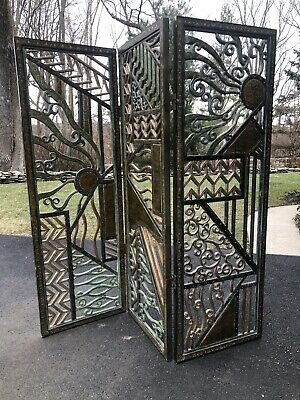 Antique Art Deco  Rene Paul Chambellan Style 1930 Room Divider Mixed Metal