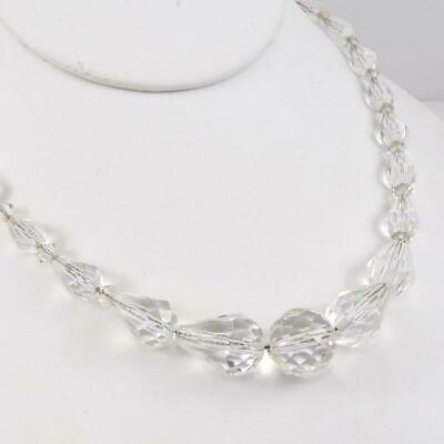 Vtg Antique Art Deco Sterling Silver Clear Faceted Crystal Bead Necklace LFK4