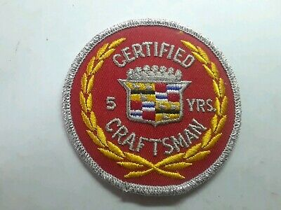 NOS REAL Rare Vintage Cadillac Certified Craftsman Mechanic Jacket Patch 5 Year