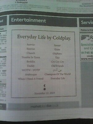 coldplay everyday life new album release newspaper daily post 23rd October