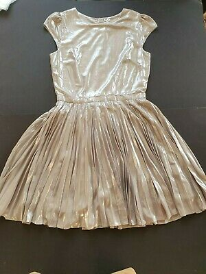 NEXT GIRLS SHIMMERING SILVER/PEWTER PLEATED PARTY/OCCASION DRESS 14 YRS 164 cm