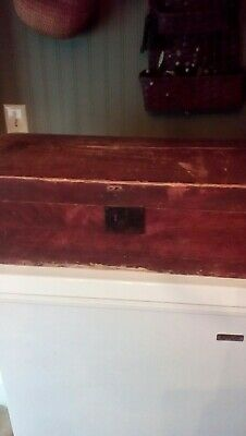 AAFA primitive antique chest in old red dry paint