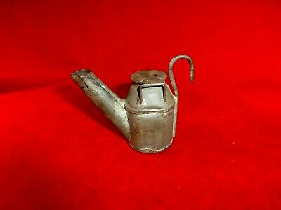 "Antique Civil War Era Camp Small 3"" Grease Lamp With Hook"