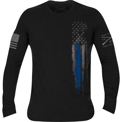 Grunt Style First Responders Long Sleeve T-Shirt - Black/Blue Line Flag
