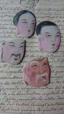 4 GORGEOUS ANTIQUE FRENCH HAND PAINTED SILK CHINESE FACES 19th CENTURY