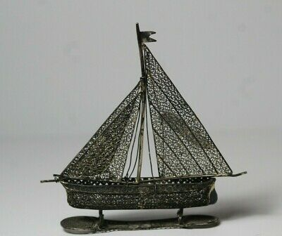 Antique Chinese Sterling Silver Handmade Wire Filigree Sail Boat Ship