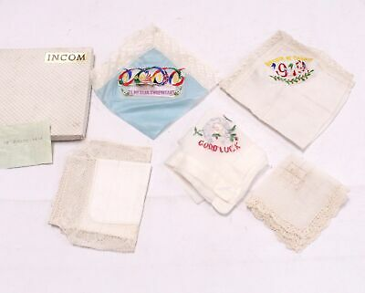 VINTAGE Hand Embroidered Silk & Binche Lace Handkerchiefs & Cloth Boxed - F08