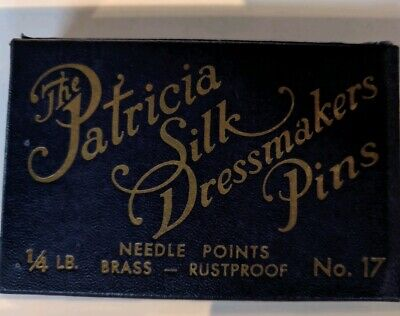 Antique Sewing Collectibles Box Patricia Silk Dressmaker Pins