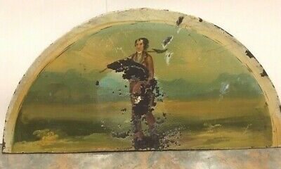 ANTIQUE GRANDFATHER CLOCK HAND PAINTED 1800s GENTLEMAN on MOON DIAL BACKPLATE