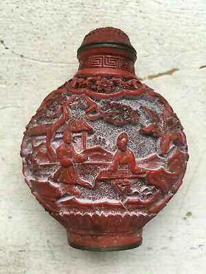 Antique Chinese Asian Snuff Snuffer Bottle Carved Red Coral ? Brass