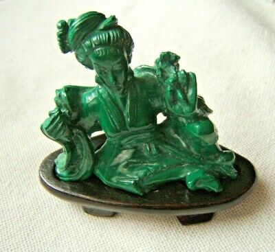Chinese Malachite Carved Figure Of Woman Nicely Done With Stand