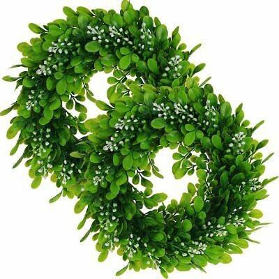 2-pack Artificial Boxwood Wreath 12 Inches Greenery Leaves Wreath