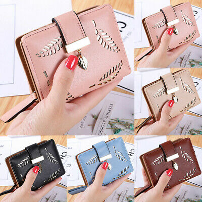 Women Girl Pure Color Hollow Short Wallet Leather Clutch Purse Button Snapped