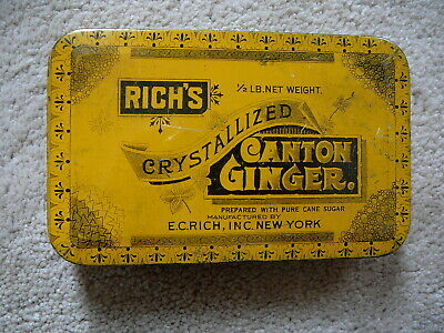 Rich's Crystallized Canton Ginger - Antique Half Pound Advertising Tin - V Good